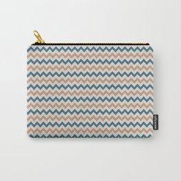 Brown Cream Blue Chevron Horizontal Line Pattern 2021 Color of the Year Canyon Dusk & Accent Shades Carry-All Pouch