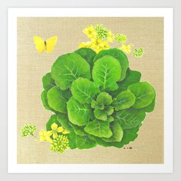 Collard Greens on Linen Art Print