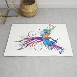 Phoenix Watercolor Print Nursery Art Gift for Her Bird Art Rug