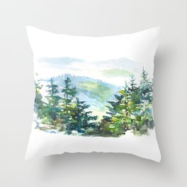 natural landscape watercolor painting Throw Pillow