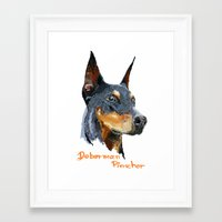 doberman Framed Art Prints featuring Doberman by Det Tidkun