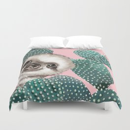 Sneaky Baby Sloth and Cactus in Pink Duvet Cover