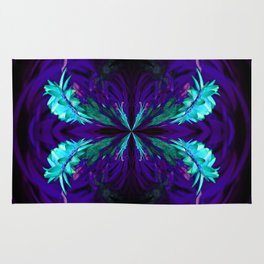 Blue flowered globe abstract Rug