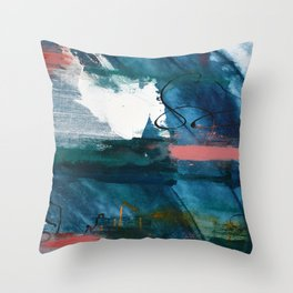 Breathe Through It: a vibrant abstract painting in blue pink and various colors by Alyssa Hamilton Throw Pillow