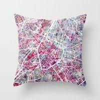 brussels Throw Pillows featuring Brussels Map by MapMapMaps.Watercolors