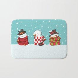 Wrapped Snowmen Bath Mat