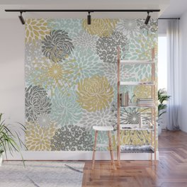 Floral Abstract Print, Yellow, Gray, Aqua Wall Mural