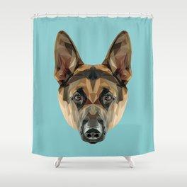 German Shepherd // Blue Shower Curtain
