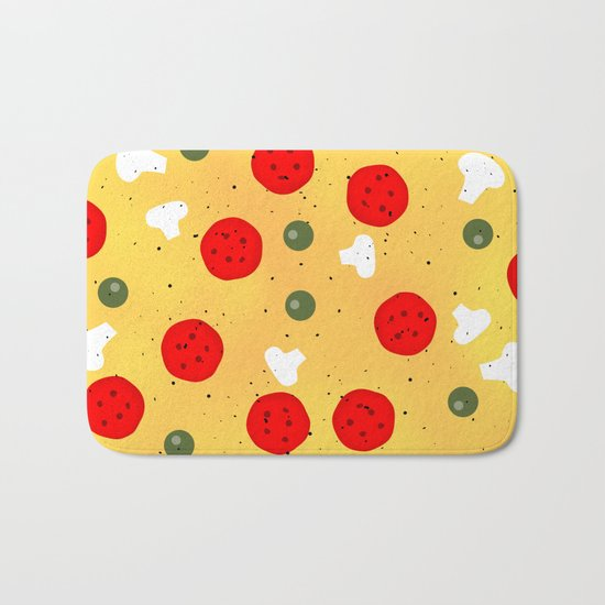 Cool and fun vector pizza Bath Mat