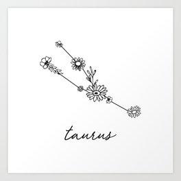 Taurus Floral Zodiac Constellation Art Print