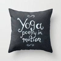 yoga Throw Pillows featuring YOGA! by Jon Cain