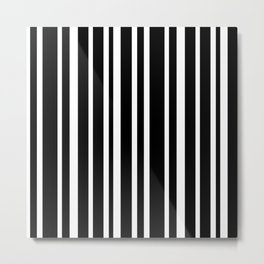 Black Stripe Pattern Home Decor   Black and White   Minimalism Metal Print