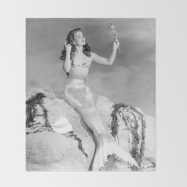 Vintage Mermaid : Mr Peabody & The Mermaid Throw Blanket