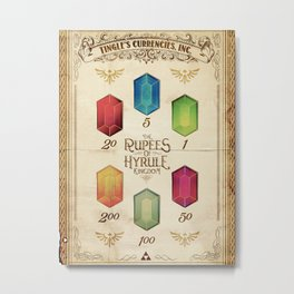 Legend of Zelda - The Rupees of Hyrule Kingdom Guide Metal Print