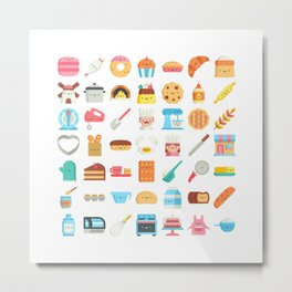 CUTE BAKERY PATTERN (CUTE CHEF BAKER) Metal Print