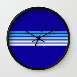 Minimal Maritime Abstract Retro Stripes 70s Style on Blue - Oceanica Wall Clock