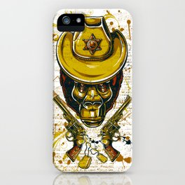 Monkey Cowboy Skull with Twin Guns iPhone Case
