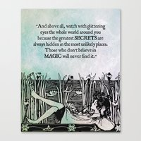 roald dahl Canvas Prints featuring Roald Dahl - Watch with glittering eyes... by pithyPENNY