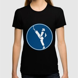 Taekwondo Fighter Kicking Stance Circle Icon T-shirt