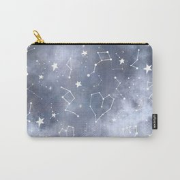 Modern black grey white nebula watercolor hearts constellation stars universe pattern Carry-All Pouch