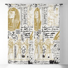 Seamless pattern on the Ancient Egypt theme with unreadable notes Blackout Curtain