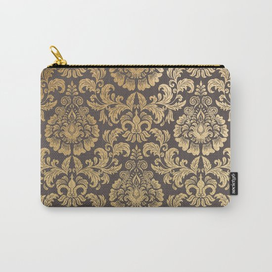 Gold swirls damask #8 Carry-All Pouch