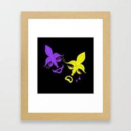 Purple and Gold Fleur de Lis Theater Masks Framed Art Print