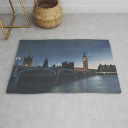 The Palace of Westminster London Oil on Canvas Rug