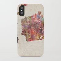 san francisco iPhone & iPod Cases featuring San Francisco map by MapMapMaps.Watercolors