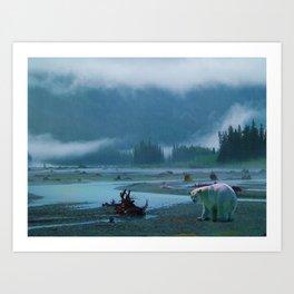 Great Spirit Bear and Misty River Art Print