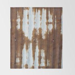 Rusted Corrugated Tin rustic decor Throw Blanket