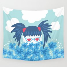Geek Girl With Heart Shaped Eyes And Blue Flowers Wall Tapestry
