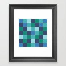 Blue Wood Blocks Framed Art Print