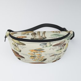 Mushrooms Vintage Scientific Illustration French Language Encyclopedia Lithographs Educational Fanny Pack