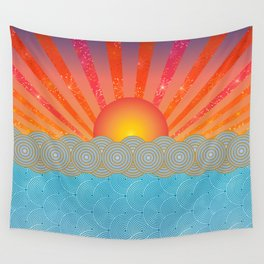 Oriental Seaview Floral Wall Tapestry