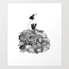 Lady Rose, black and white Art Print