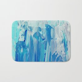 Abstract Blue Acrylic Painting With Brush Strokes Bath Mat