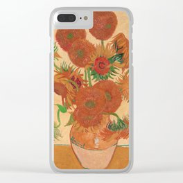 Still Life: Vase with Fourteen Sunflowers by Vincent van Gogh Clear iPhone Case