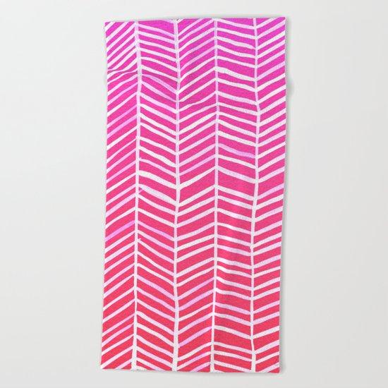 Herringbone – Pink Ombré Beach Towel