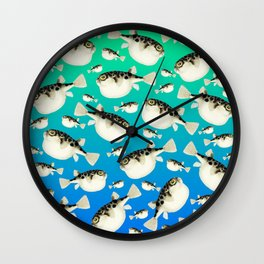 Puffer Pattern Turquoise Teal Blue Wall Clock