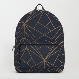 Navy blue Gold Geometric Pattern With White Shimmer Backpack