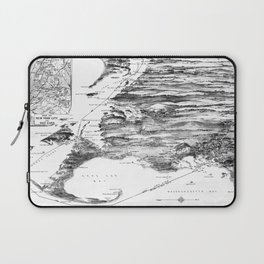 Vintage Cape Cod and NYC Steamboat Route Map BW Laptop Sleeve