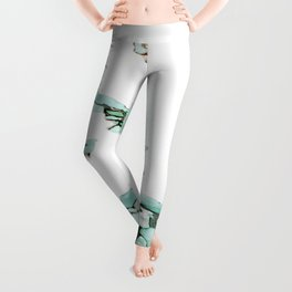 white silver turquoise marbled abstract digital painting Leggings