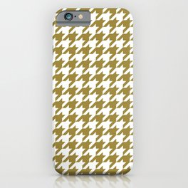 Classic Houndstooth Pattern in Dark Gold / Bronze and White iPhone Case