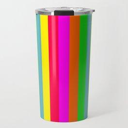 Neon Hawaiian Rainbow Cabana Stripes Travel Mug
