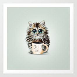 cat coffee time Art Print