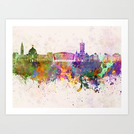 Cardiff skyline in watercolor background Art Print
