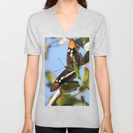 California Sister Butterfly on Oak Leaves Unisex V-Neck