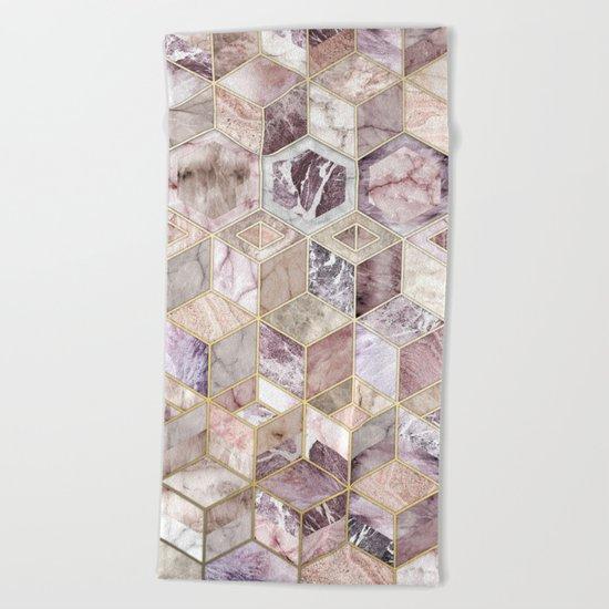 Blush Quartz Honeycomb Beach Towel