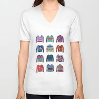 sweater V-neck T-shirts featuring Sweater Poster by Valeriya Volkova
